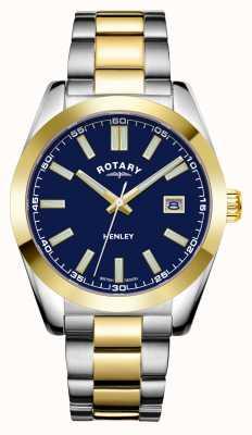 Rotary Hommes | henley | cadran bleu | bracelet en acier inoxydable bicolore GB05181/05