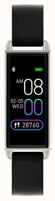 Reflex Active Montre intelligente série 2 | écran tactile couleur | bracelet en cuir noir RA02-2007
