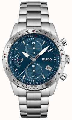 BOSS Édition pilote | bracelet en acier inoxydable pour homme | cadran bleu 1513850