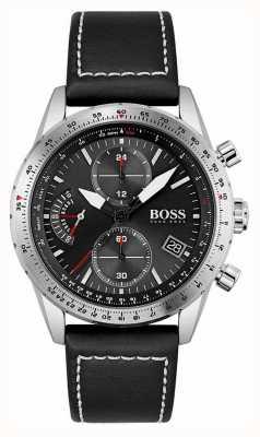 BOSS Édition pilote | bracelet en cuir noir pour homme | cadran noir 1513853