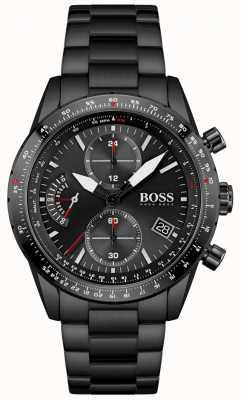 BOSS Édition pilote | bracelet homme en acier inoxydable noir | cadran noir 1513854