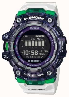 Casio G-shock | sports série vitale | bracelet en silicone blanc | cadran noir | Bluetooth GBD-100SM-1A7ER