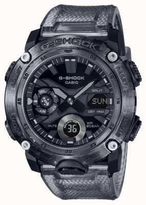 Casio G-shock | série grise squelette | bracelet en plastique transparent gris | cadran gris GA-2000SKE-8AER