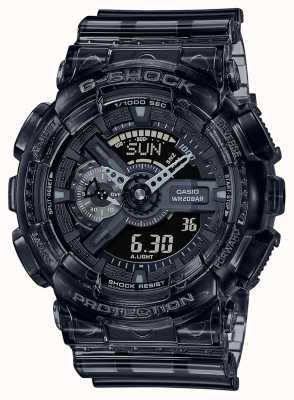 Casio G-shock | série grise squelette | bracelet en résine transparente gris clair | cadran gris GA-110SKE-8AER