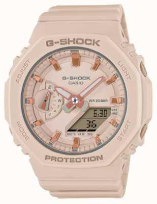 Casio G-shock de taille moyenne | bracelet en résine rose pâle | cadran rose GMA-S2100-4AER
