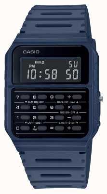 Casio Montre calculatrice rétro | bracelet en résine bleu | cadran noir CA-53WF-2BEF
