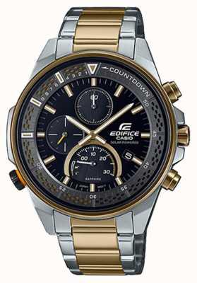 Casio Chronographe saphir mince Edifice   bracelet en acier bicolore   cadran noir EFS-S590SG-1AVUEF