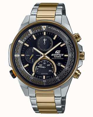 Casio Chronographe saphir mince Edifice | bracelet en acier bicolore | cadran noir EFS-S590SG-1AVUEF