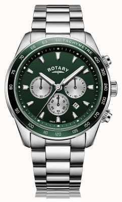 Rotary Hommes | henley | chronographe | cadran vert | bracelet en acier inoxydable GB05109/24
