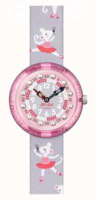 Flik Flak Pirouette   bracelet en tissu imprimé ballerine grise   cadran rose FBNP162