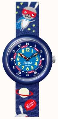 Flik Flak Super trémie   bracelet en tissu imprimé espace bleu   cadran bleu FBNP166