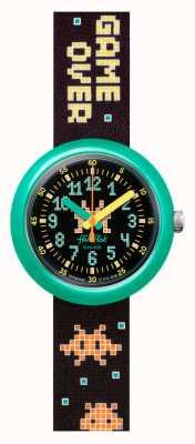 Flik Flak Envahisseur du temps   bracelet en tissu noir à motif   cadran noir FPNP069