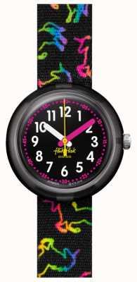 Flik Flak Licorne disco   bracelet en tissu noir imprimé licorne multicolore   cadran noir FPNP070