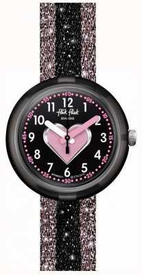 Flik Flak Cuoricino | bracelet textile rose / noir | cadran noir FPNP071