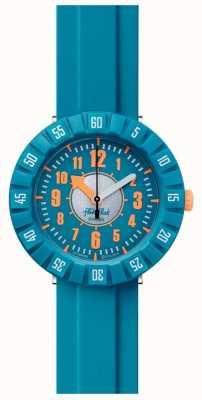 Flik Flak Teal mon esprit   bracelet en silicone bleu   cadran bleu FCSP099