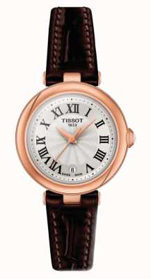 Tissot Bellissima   cadran argenté   bracelet en cuir marron T1260103601300