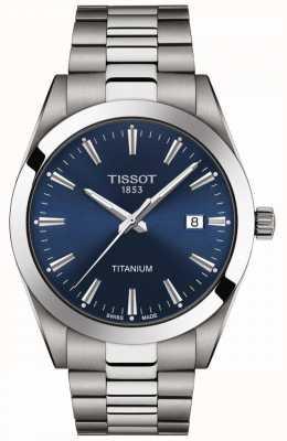 Tissot Messieurs titane | bracelet titane gris / argent | cadran bleu T1274104404100