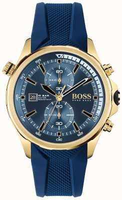 BOSS Globetrotter | chronographe | cadran bleu | bracelet en silicone bleu 1513822