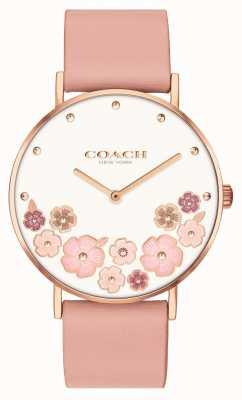Coach Perry | bracelet en cuir de veau rose pour femme | cadran fleuri 14503770