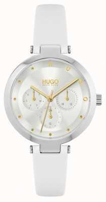 HUGO #espoir | bracelet en cuir blanc pour femme | cadran argenté 1540086