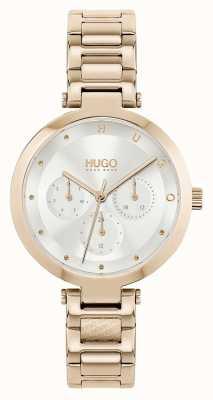 HUGO #espoir multi | bracelet en acier doré rose pour femme | cadran argenté 1540087