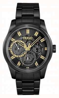 HUGO #squelette | bracelet ip noir pour hommes | cadran noir 1530192