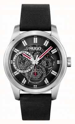 HUGO #squelette | bracelet en cuir noir pour hommes | cadran noir 1530189