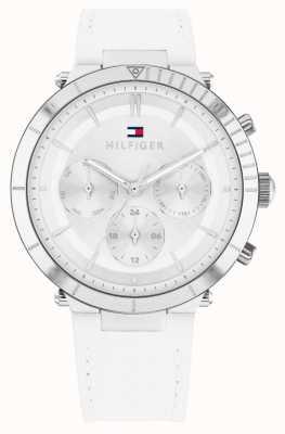 Tommy Hilfiger Emery | bracelet en cuir blanc pour femme | cadran argenté 1782352