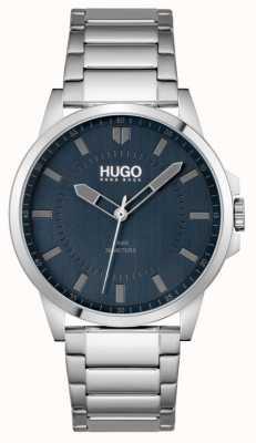 HUGO #premier | bracelet en acier inoxydable pour hommes | cadran bleu 1530186