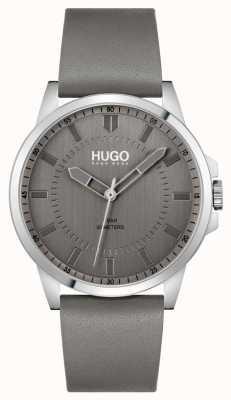 HUGO #premier | bracelet en cuir gris pour homme | cadran gris 1530185
