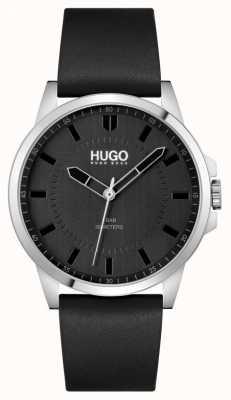 HUGO #premier | bracelet en cuir noir pour hommes | cadran noir 1530188