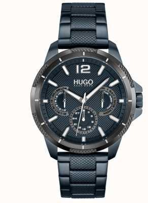 HUGO #sportif | bracelet en acier ip bleu pour homme | cadran bleu 1530194