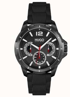 HUGO #sportif | bracelet en silicone noir pour hommes | cadran noir 1530193