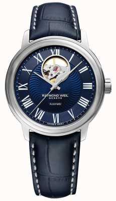Raymond Weil Maestro | bracelet en cuir bleu pour homme | cadran bleu 2227-STC-00508