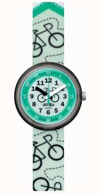 Flik Flak piste cyclable   bracelet en tissu imprimé vélo vert   cadran vert FPNP066
