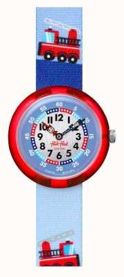 Flik Flak Camion de pompier   bracelet en tissu imprimé camion de pompiers bleu   cadran bleu/blanc FBNP160