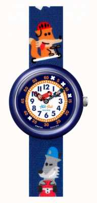 Flik Flak Sk8fox | bracelet en tissu imprimé renard bleu | cadran blanc FBNP164
