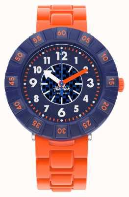 Flik Flak Orangebrick | bracelet en silicone orange | cadran bleu FCSP103