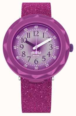 Flik Flak Pourpreaxus   bracelet en silicone pailleté violet   cadran violet FCSP106