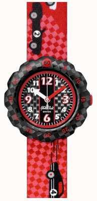 Flik Flak 3 2 1 partez! | bracelet en tissu imprimé voiture de course rouge | cadran noir FPSP044