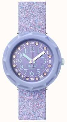 Flik Flak Lilaxus   bracelet en silicone pailleté violet   cadran violet FCSP102