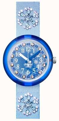 Flik Flak Frozilicious | bracelet en tissu serti de cristaux bleus | cadran bleu FPNP073