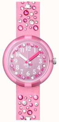 Flik Flak Millefeux | bracelet en tissu serti cristal rose | cadran rose FPNP074