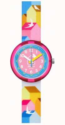 Flik Flak Casitas | bracelet en tissu multicolore | cadran bleu / rose FPNP067