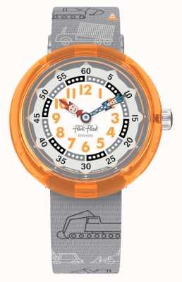 Flik Flak Creusez-le   bracelet en tissu à motif gris   cadran gris/blanc FBNP159