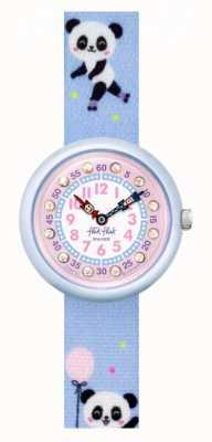 Flik Flak Pandi panda   bracelet en tissu imprimé panda bleu   cadran rose FBNP163