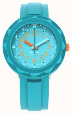 Flik Flak Aqualicieux   bracelet en silicone bleu aqua   cadran aquatique FCSP100