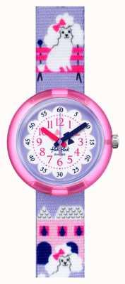 Flik Flak Miss caniche | bracelet en tissu imprimé caniche violet | cadran blanc / violet FPNP068