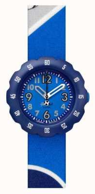 Flik Flak Bottes-le!   bracelet en tissu imprimé football bleu   cadran bleu FPSP045