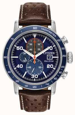 Citizen Bracelet cuir chronographe Brycen Eco-Drive CA0648-09L